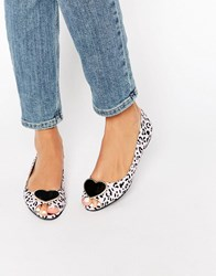 Asos Luminous Ballet Flats Leopard Black Multi