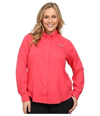 Columbia Plus Size Tamiami Ii L S Shirt Tango Pink Women's Long Sleeve Button Up Red