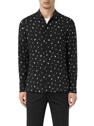 Allsaints Vee Abstract Long Sleeve Slim Shirt Jet Black