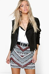 Boohoo Tonal Tribal Print Mini Skirt Multi