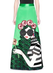 Alice Olivia 'Ursula' Embellished Stace Face Satin Ball Gown Skirt Multi Colour