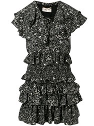 Saint Laurent Usa Skull Ruffled Chiffon Dress Black