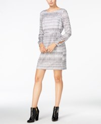 Armani Exchange Long Sleeve Printed Dress Solid White