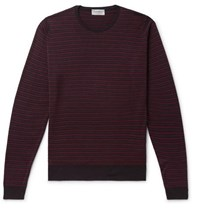 John Smedley Striped Wool Sweater Purple