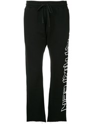 R 13 R13 Raw Hem Track Pants Black