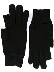 Rick Owens Part Fingerless Knit Gloves Black