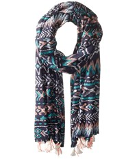 San Diego Hat Company Bss1717 Woven Abstract All Over Print Scarf With Tassels Navy Scarves