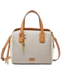 Fossil Emma Satchel Grey White