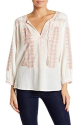 Joie Sunflower Embroidered Peasant Blouse White