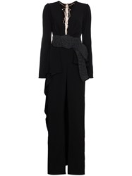 Johanna Ortiz Belted Jumpsuit With Deep V Neck Black