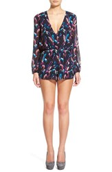 Women's Lucca Couture Long Sleeve Print Surplice Romper