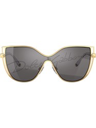 Dolce And Gabbana Logo Lens Sunglasses Gold