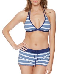 Splendid Chambray Cottage Removable Soft Cup Halter Bikini Blue