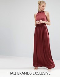 Little Mistress Tall Ruched Pleated Maxi Prom Dress Wine Red