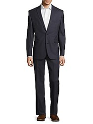 Vince Camuto Solid Notch Lapel Fitted Wool Suit Blue Texture