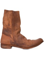A Diciannoveventitre Relaxed Distressed Boots Leather Brown