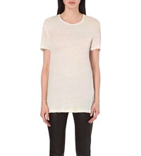 The Kooples Oversized Semi Sheer Linen Jersey T Shirt Ecru