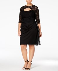 Betsy And Adam Plus Size Lace Cutout Cocktail Dress Black