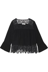 Sandro Corded Lace Paneled Crepe Top Black