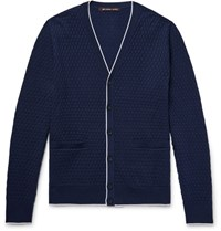 Michael Kors Contrast Tipped Basketweave Knitted Cardigan Navy
