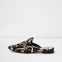 River Island Brown Leopard Print Backless Loafers