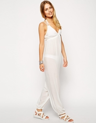 Asos Tie Shoulder Beach Jumpsuit White