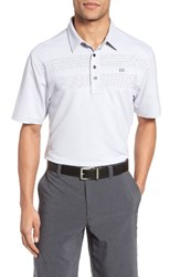 Travis Mathew Men's Aleman Trim Fit Stripe Polo Alloy White