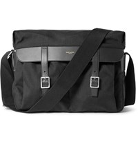Saint Laurent Leather Trimmed Canvas Messenger Bag Black