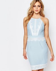 Lipsy High Neck Midi Dress With Lace Detail Blue