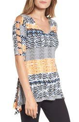 Chaus Patchwork Cutout Sleeve Tunic Top Antique White