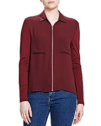 The Kooples Zip Front Shirt Burgundy