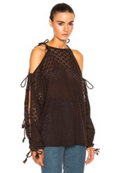 See By Chloe Open Shoulder Knit Pullover In Brown