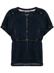 Michel Klein Net Panelled Blouse Blue
