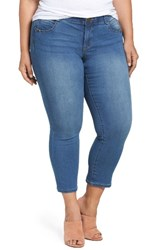 Democracy Plus Size Women's Ab Solution Stretchy Skinny Ankle Jeans Light Blue