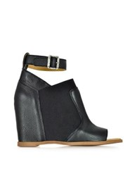 Maison Martin Margiela Black Leather Wedge Sandal W Ankle Wrap