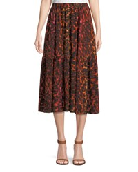 Stella Mccartney Neon Animal Print Silk Full A Line Midi Skirt Multi Pattern