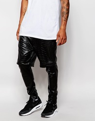 Asos Super Skinny Meggings In Faux Leather Black