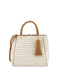 Neiman Marcus Fabric Tote Bag With Tassel Ivory