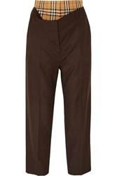 Burberry Layered Wool And Checked Cotton Straight Leg Pants Brown