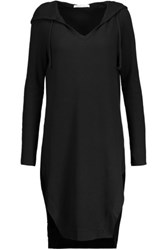 Yummie Tummie By Heather Thomson Waffle Knit Stretch Cotton And Modal Blend Hooded Nightshirt Black