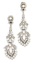 Ben Amun Crystal Clip On Peacock Earrings Silver Clear