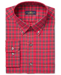 Club Room Men's Estate Classic Fit Wrinkle Resistant Red Stewart Tartan Dress Shirt Only At Macy's