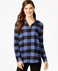 G.H. Bass And Co. Plaid Button Front Shirt Blue Shale Combo