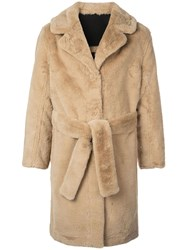 Opening Ceremony Reversible Faux Fur Coat Brown