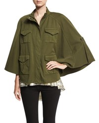 Haute Hippie Promise Me Twill Poncho Olive