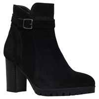 Carvela Support Buckle Strap Ankle Boots Black Suede