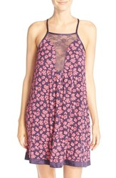 Women's Midnight By Carole Hochman Lace Inset Jersey Chemise Floral