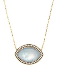 Noor Fares Ajna Diamond And 18Kt Grey Gold Necklace Blue