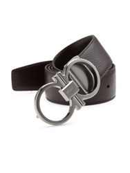 Salvatore Ferragamo Mini Grain Calfskin Leather Belt Chocolate
