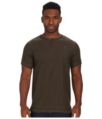 Publish Owen Reverse French Terry Short Sleeve Henley Olive Men's Short Sleeve Pullover